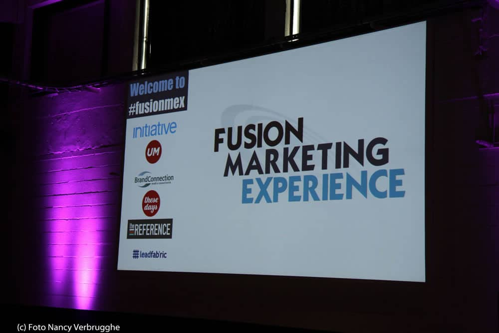 Welcome screen at the Fusion Marketing Experience social business sessions by i-SCOOP – picture Nancy Verbrugghe